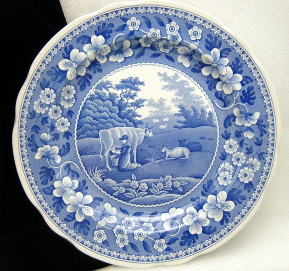 Blue Room Series Spode Milkmaid Collector Plate Blue White