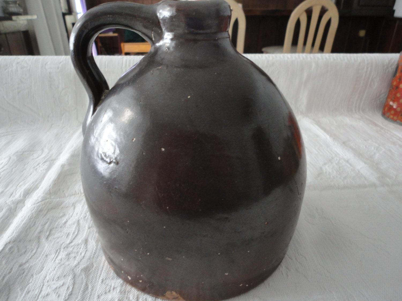 Antique Brown Crock Pottery Moonshine Jug Whiskey Jug Molasses