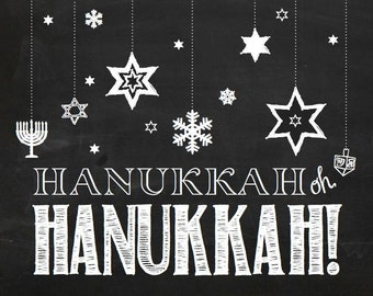 Hanukkah Chalkboard Sign, Jewish Chalkboard Sign, Chanukah printable, Jewish Art, Hebrew Art, Instant Digital Download