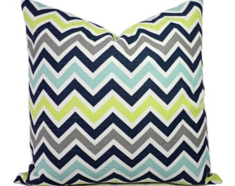 Two Decorative Pillow Covers - Blue and Green Chevron Pillows - Green Chevron Pillow - Navy Chevron Pillow - Blue Pillow Sham - Throw Pillow