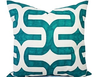 Turquoise Pillow Covers - Two Turquoise and White Throw Pillow Covers - 20 x 20 Pillow Cover - 18 x 18 Pillow Cover - Turquoise Pillows