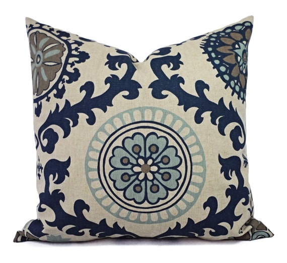 Navy Blue Decorative Pillow Covers : Two Blue Decorative Pillow Covers Navy Blue Floral Pillow