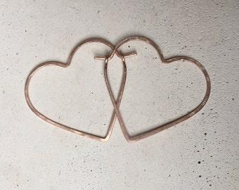 SMALL HEART HOOPS - Hammered Heart Hoop Earrings - Gold or Rose Gold Heart Hoops