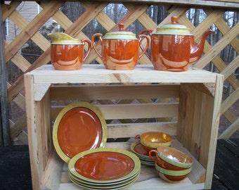 Vintage 1950's 18 Piece Lusterware Tea Set