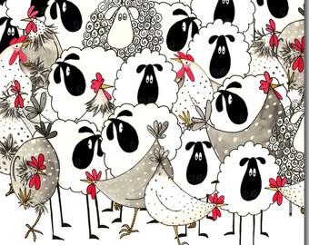 Hotch Potch Chicken & Sheep Greeting Card