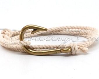 Ivory White Cotton Rope Fish Hook Bracelet