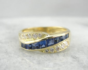 Twisting Sapphire And Diamond Band Or Stacking Ring FC7FDH-D