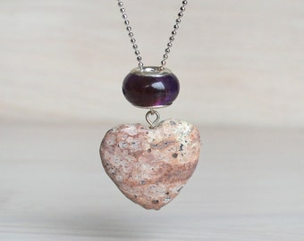 Eco friendly rose heart pendant necklace/ organic form heart rose sand jasper .