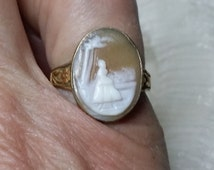14 kt cameo ring,Gold cameo ring,Vintage gold ring, Old cameo ring,Brown cameo,