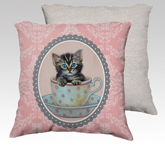 Coussin chat de chaton coussin housse de coussin par for Housse de coussin enfant