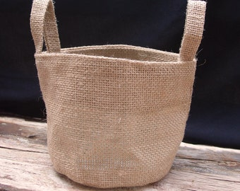 4.5 Inch 2 Pack Burlap Flower Girl Basket #B990