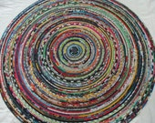 "Handmade Multi Color & Print Round Coiled Clothesline Rope Rag Rug, 34 1/2"" diameter (R851)"
