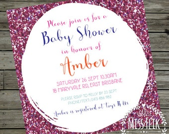 Purple Glitter Invitation Printable Square Women Girl Pink Colourful Baby Shower Birthday Party 18th 21st 30th Save the Date