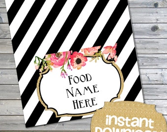 Gold Glitter Black and White Printable Buffet Cards - Tent Cards and Labels - Blank DIY Food Labels - INSTANT DOWNLOAD - 0124 - 0125