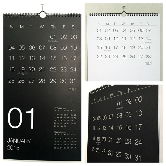 Minimalist Calendar 2015 : Minimalist black and white wall calendar by hayesstudio