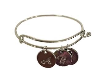 Personalized Initial Bracelet Silver Disc Charm Bracelet,NL-2459BR