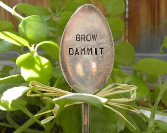 GROW DAMMIT Garden Marker   Hand Stamped Spoon   Plant Pick   Humorous  Garden   Funny