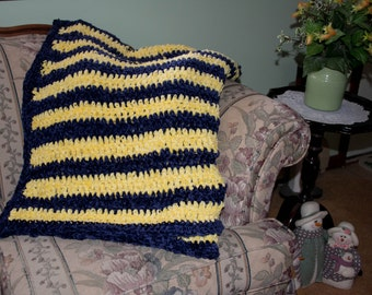 Blue & Yellow Chenille Afghan