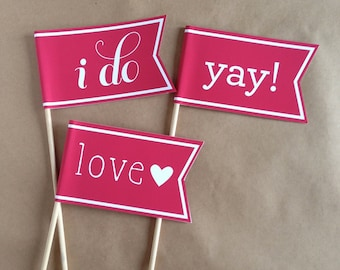 10 Wedding Flags / Photo Props / Photobooth Props / Flags on Sticks / Banners / Celebration Flag / Pennant on Stick / Photo Booth Prop / Yay
