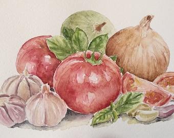 Abstract Kitchen art - Original watercolor painting - tomato,garlic,onion - watercolor art ,original still life watercolor painting