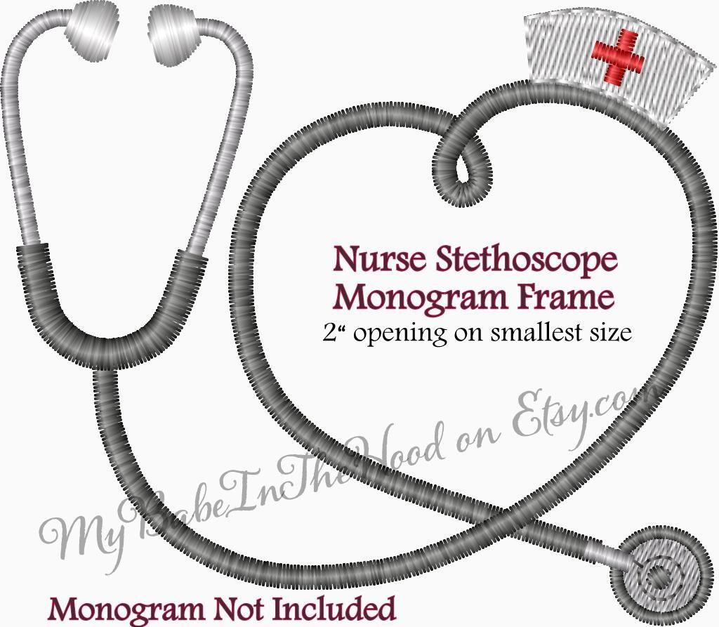 Nurse Stethoscope Monogram Frame Embroidery Design