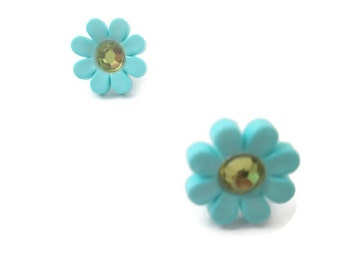 Spring Nature Jewelry Spring daisy flower earrings childrens daisy Easter earrings children's jewelry button post plastic daisy