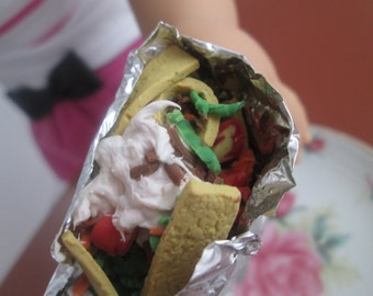 Girl Doll Food, 18 Inch Doll Food, AG Doll Food, Miniature Food, Fair Food for Dolls, Walking Taco, Taco in a Bag