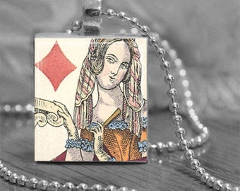 Queen of Diamonds Scrabble® Tile Pendant Necklace or Key Chain Vintage Queen of Diamonds Playing Card Image