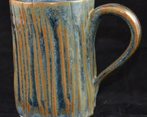 Carved Blue Brown and Green tall mug