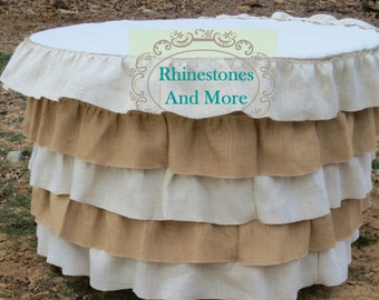 Round Burlap Tablecloth with 5 ruffles