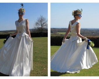 Absolutely dreamy satin 1930's wedding dress, full skirt size M