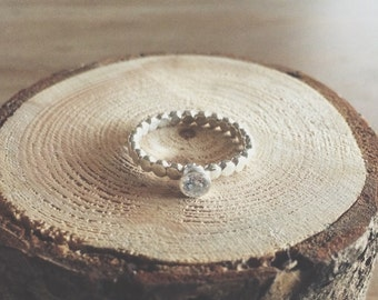 Sidney ring, cz gemstone ring, cz ring, sterling silver ring, beaded band, stacking ring, stacking jewelry