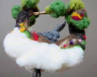 Needle felted mobile ornament with a Bunny and Carrots, Waldorf style needle felted decoration for nursery, kids rooms,dream, felt playscape