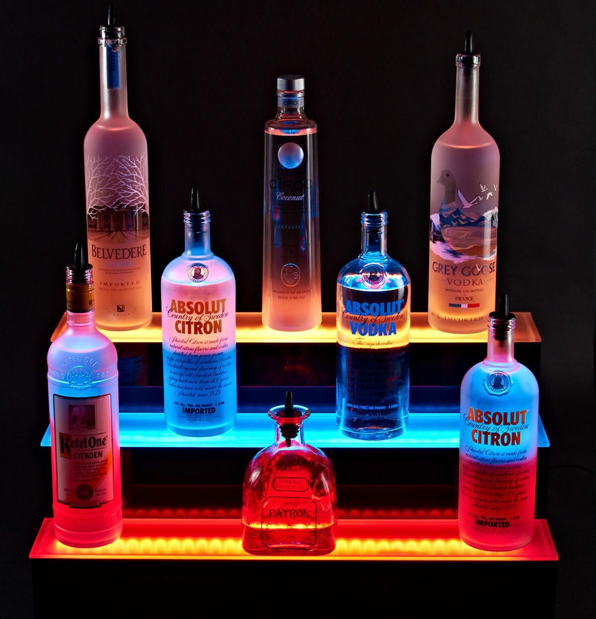 Armana Acrylic 57 Wall Mount LED Lighted Liquor Bottle Shelf 4 9