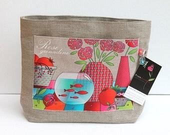 "Model shown natural linen ""grenadine rose"" large bag Organizer"