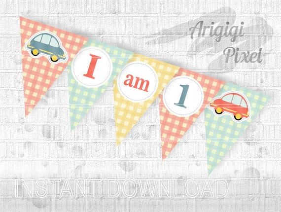 printable cars highchair banner - 1st birthday banner - '' I am 1'' text