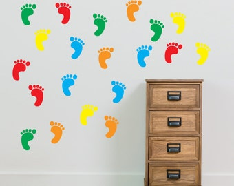 Foot Prints Wall Stickers Kids Nursery Play Room Home Art Decoration Children Decals Removable Handmade School Bedrooms New Bright  VC-A62