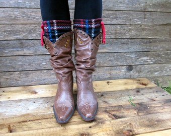 Handmade plaid boot cuff in Royal Stewart pattern Cozy leg warmers, boot toppers, rodeo