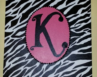 16x20 Hand painted initial zebra canvas