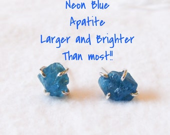 NEON BLuE APATITE ROUgH Cut raw apatite Free Form Prong Set Post Earring blue Stud Earring Bridesmaid Gift Something Blue bride Wedding