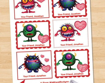 Printable Monster Valentines, Instant Download and Editable Kid's Scary Valentines, Personalized Digital Children, Boy or Girls Cards