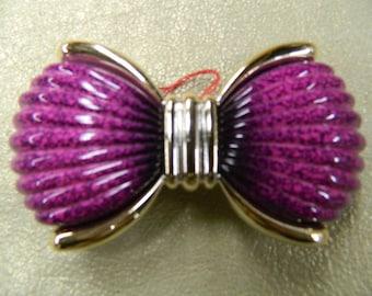 Fuschia mottled hair bow clip barrette made in France