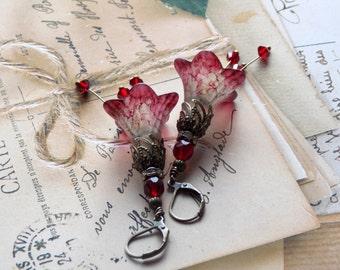Lucite Flower Earrings, Ruby Red Lucite Flower Earrings, Red Drop Earrings, Dangle Earrings, Handmade Earrings,