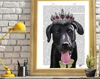 Labrador art labrador gifts Cute dog art for kids rooms Kids bedroom wall décor - Labrador With Tiara - dog wall décor labrador retriever