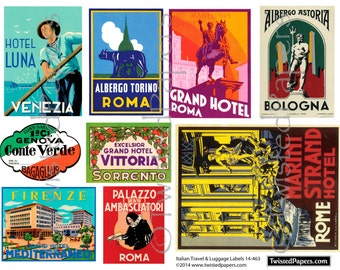 Italian LUGGAGE LABEL ART, Vintage Travel Luggage Labels. Rome, Venezia, Sorrento, Firenze, Bologna Printable and Digital 14-463