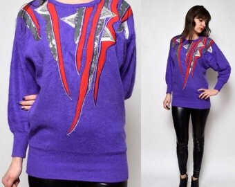 SALE___Vintage 90's Purple Embellished Ornaments Sweater