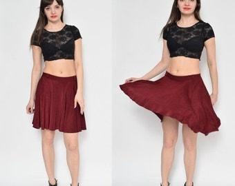 Vintage 90's Full Circle Burgundy Mini Skirt