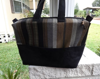 Brown and Black Zippered Tote