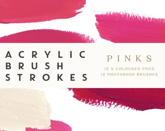 Brush Stroke Clip Art - Acrylics in Pink, PNGs and Photoshop Brushes