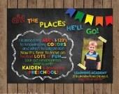 Dr. Seuss Preschool Graduation Invitation - Kindergarten - Chalkboard - Oh The Places You'll Go - Choose Digital File or Printed w/envelopes